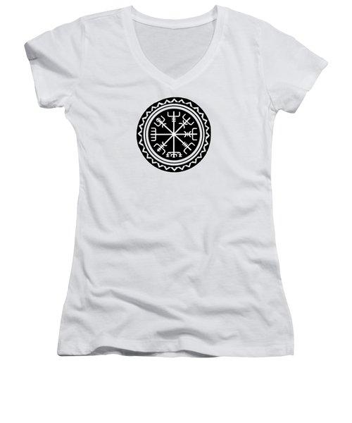Women's V-Neck T-Shirt featuring the digital art Viking Vegvisir Compass by Vagabond Folk Art - Virginia Vivier