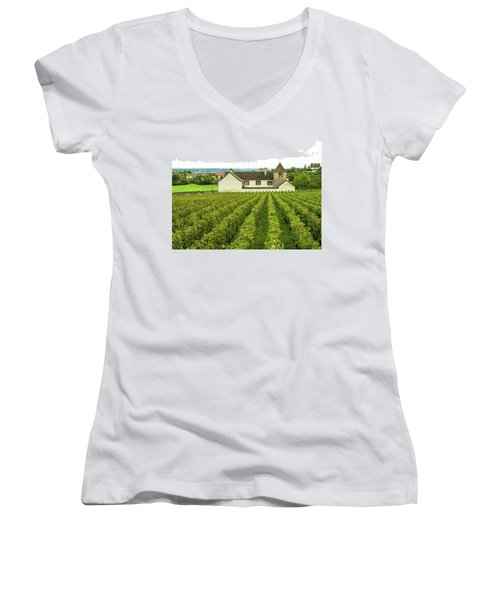 Women's V-Neck T-Shirt (Junior Cut) featuring the photograph Vineyard In France by Jim Mathis
