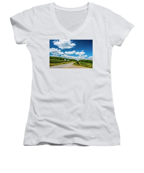 Women's V-Neck T-Shirt (Junior Cut) featuring the photograph Vineyards In Summer by Steven Ainsworth