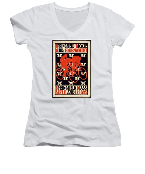 Women's V-Neck T-Shirt (Junior Cut) featuring the photograph Vintage 1895 Springfield Bicycle Club Poster by John Stephens