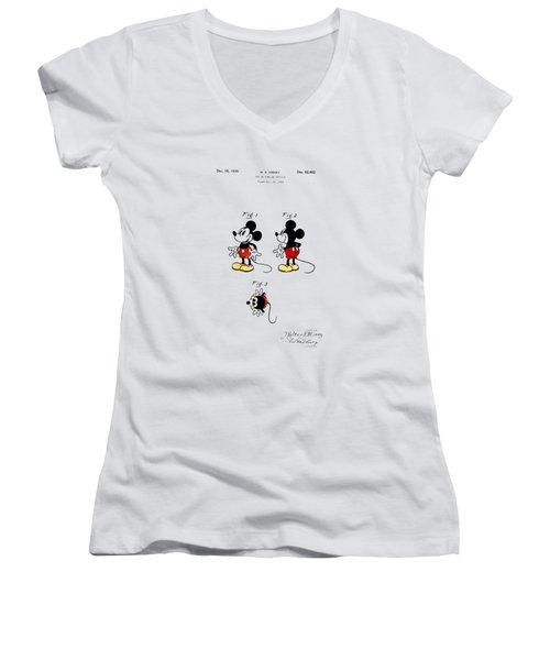 Vintage 1930 Mickey Mouse Patent Women's V-Neck T-Shirt (Junior Cut) by Bill Cannon