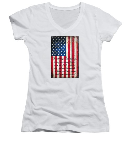 Vintage American Flag And 2nd Amendment On Old Wood Planks Women's V-Neck T-Shirt