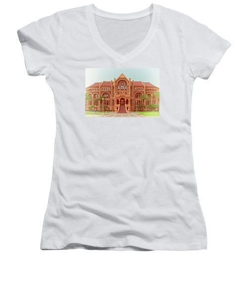 Vintage Architectural Photograph Of Ashbel Smith Old Red Building At Utmb - Downtown Galveston Texas Women's V-Neck