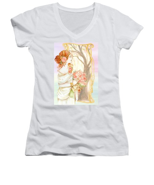 Vintage Art Nouveau Flower Lady Women's V-Neck
