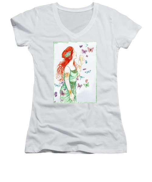 Vintage Art Nouveau Lady Party Time Women's V-Neck