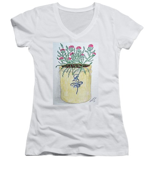 Women's V-Neck T-Shirt (Junior Cut) featuring the painting Vintage Bee Sting Crock And Thistles by Kathy Marrs Chandler