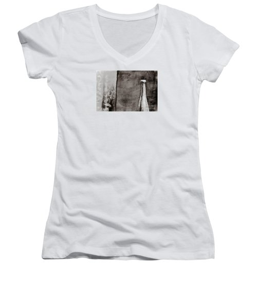 Women's V-Neck T-Shirt (Junior Cut) featuring the photograph Vintage Beer Bottle by Andrey  Godyaykin