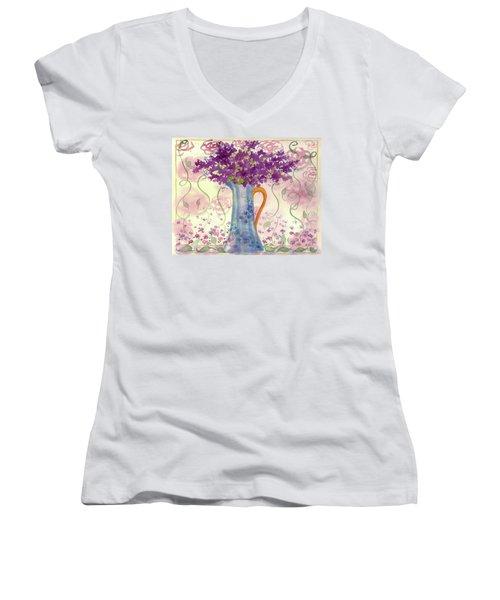 Women's V-Neck T-Shirt (Junior Cut) featuring the painting Vintage Blue Flower Bouquet by Cathie Richardson