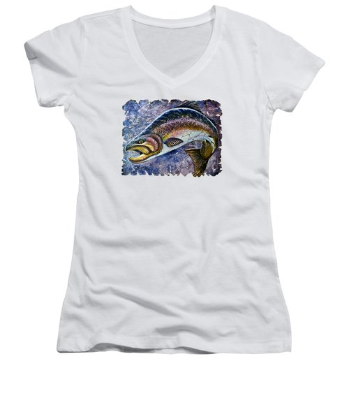 Vintage Blue Trout Fresco  Women's V-Neck T-Shirt (Junior Cut) by Lena  Owens OLena Art