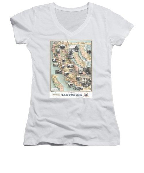 Vintage California Map Women's V-Neck