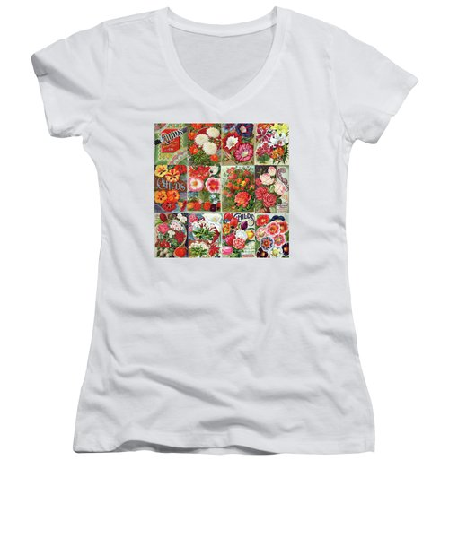 Vintage Childs Nursery Flower Seed Packets Mosaic  Women's V-Neck T-Shirt (Junior Cut) by Peggy Collins