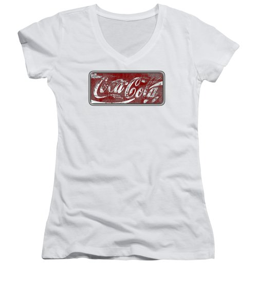 Vintage Coca Cola Red And White Sign With Transparent Background Women's V-Neck (Athletic Fit)