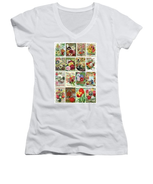 Vintage Flower Seed Packets 1 Women's V-Neck (Athletic Fit)