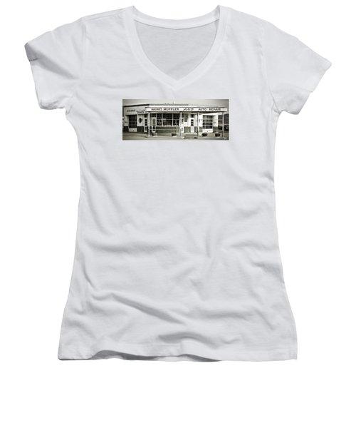 Vintage Gas Station Women's V-Neck T-Shirt