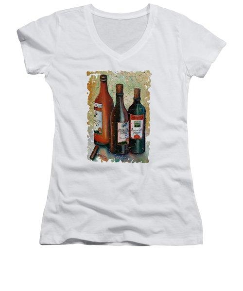 Vintage Georgian Wine Fresco Women's V-Neck T-Shirt (Junior Cut) by Lena  Owens OLena Art