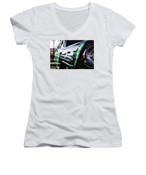 Vintage Green Women's V-Neck T-Shirt (Junior Cut) by Mark David Gerson
