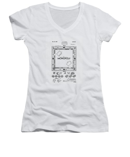 Women's V-Neck featuring the photograph Vintage Monopoly Patent 1935 by Bill Cannon