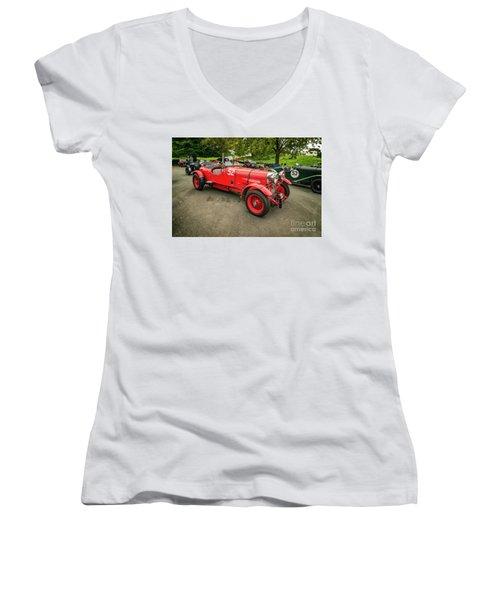Women's V-Neck T-Shirt (Junior Cut) featuring the photograph Vintage Motors by Adrian Evans