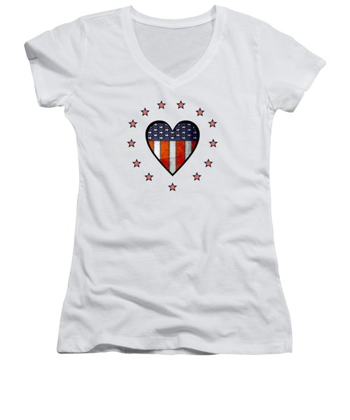 Vintage Patriotic Heart Women's V-Neck (Athletic Fit)