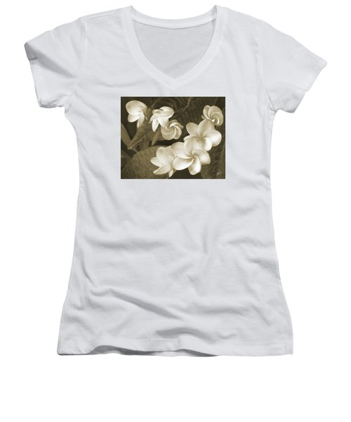 Women's V-Neck T-Shirt (Junior Cut) featuring the photograph Vintage Plumeria by Ben and Raisa Gertsberg