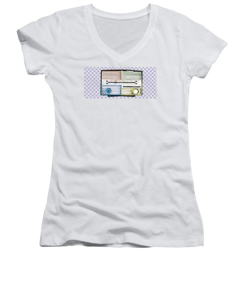 Women's V-Neck T-Shirt (Junior Cut) featuring the photograph Vintage Radio Purple Dots Mug by Edward Fielding