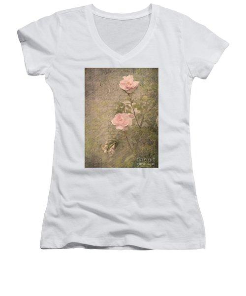 Vintage Rose Poster Women's V-Neck T-Shirt (Junior Cut) by Liz  Alderdice