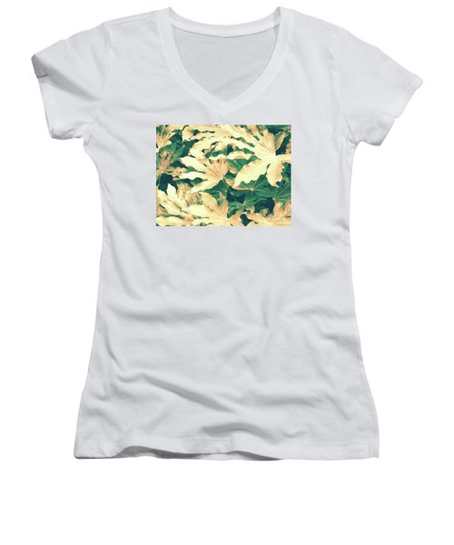 Women's V-Neck T-Shirt (Junior Cut) featuring the photograph Vintage Season Gold by Rebecca Harman