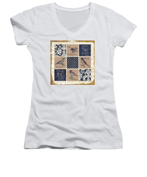 Vintage Songbird Patch 2 Women's V-Neck T-Shirt (Junior Cut) by Debbie DeWitt