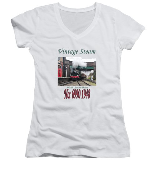Vintage Steam Railway Train Engine Number 6990  Women's V-Neck T-Shirt (Junior Cut) by Tom Conway