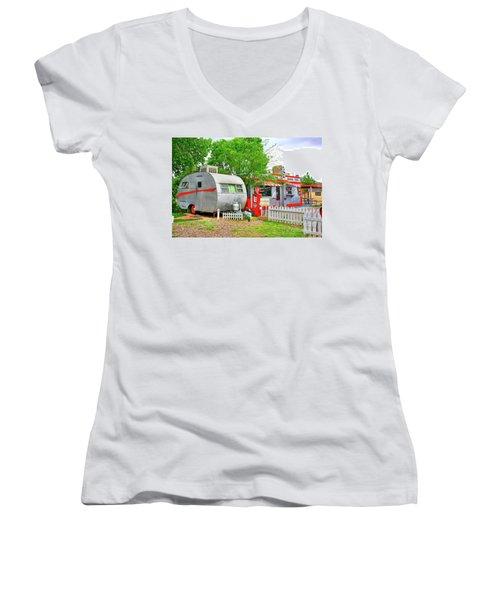 Vintage Trailer And Diner In Bisbee Arizona Women's V-Neck T-Shirt