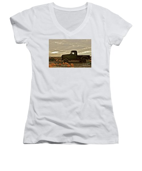 Vintage Truck Two In Pumpkin Graveyard Women's V-Neck