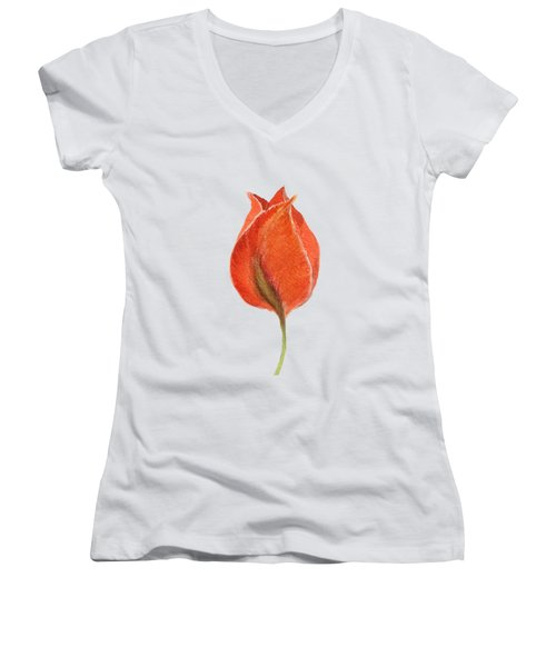 Vintage Tulip Watercolor Phone Case Women's V-Neck T-Shirt (Junior Cut) by Edward Fielding