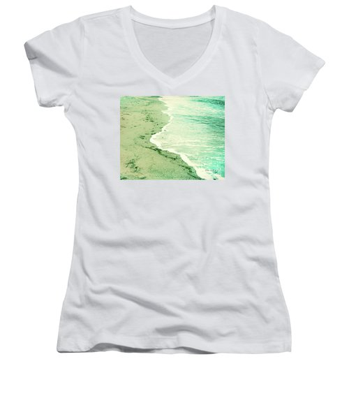 Vintage Waves In Yellow And Blue Women's V-Neck T-Shirt