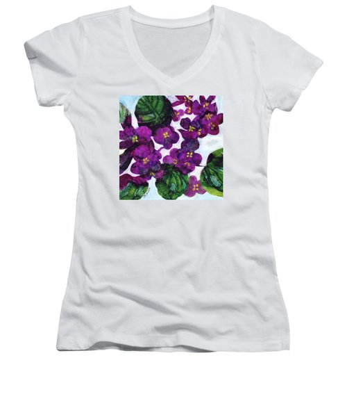 Women's V-Neck T-Shirt (Junior Cut) featuring the painting Violets by Julie Maas