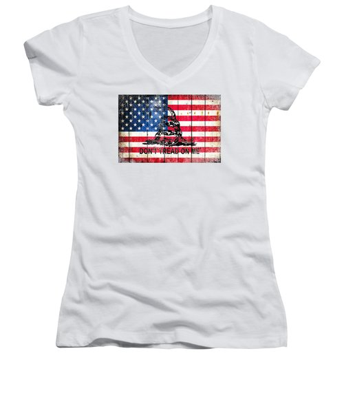 Viper On American Flag On Old Wood Planks Women's V-Neck T-Shirt (Junior Cut) by M L C