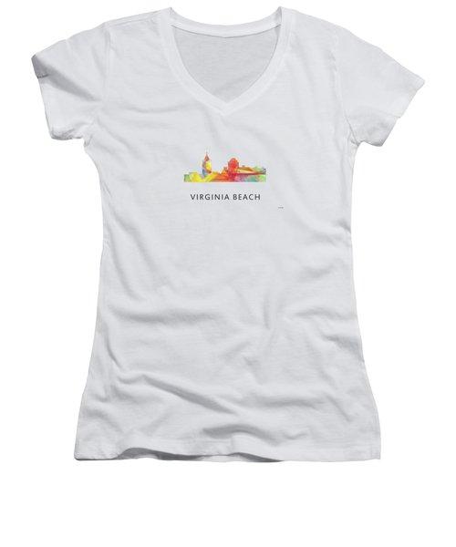 Virginia Beach  Virginia Skyline Women's V-Neck T-Shirt (Junior Cut) by Marlene Watson