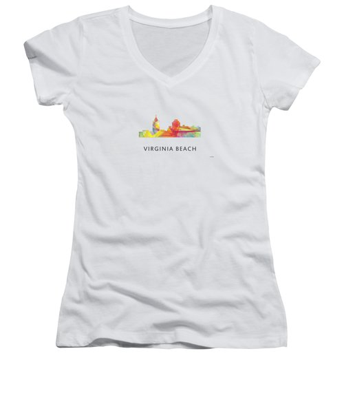 Virginia Beach  Virginia Skyline Women's V-Neck (Athletic Fit)