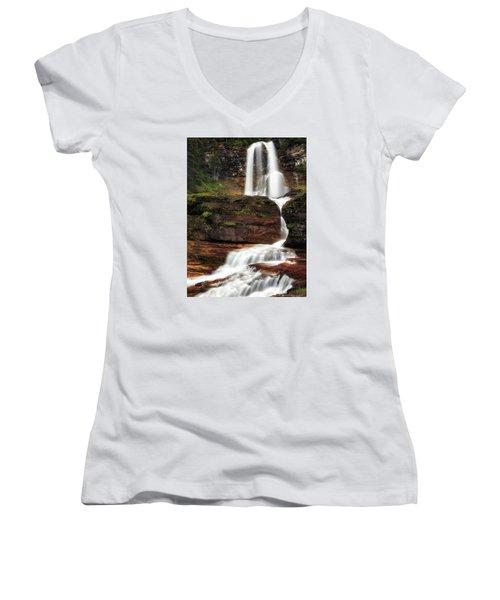 Virginia Falls Glacier National Park Women's V-Neck T-Shirt (Junior Cut) by John Vose