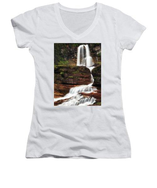 Virginia Falls Glacier National Park Women's V-Neck