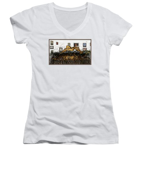 Women's V-Neck T-Shirt (Junior Cut) featuring the mixed media Virtual Exhibition With Birthday Cake by Pemaro