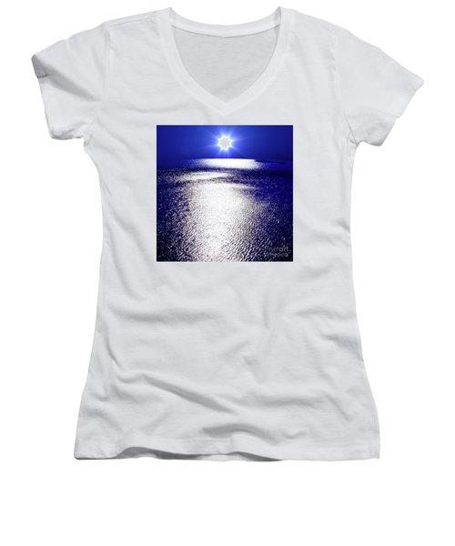 Women's V-Neck T-Shirt (Junior Cut) featuring the photograph Virtual Sea by Tatsuya Atarashi