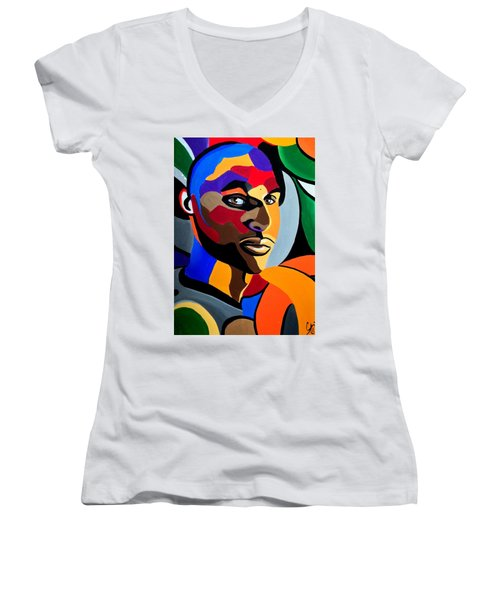 Visionaire Male Abstract Portrait Painting Chromatic Abstract Artwork Women's V-Neck