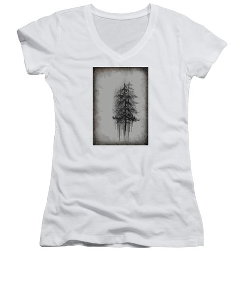 Women's V-Neck T-Shirt (Junior Cut) featuring the painting Voices by Annette Berglund