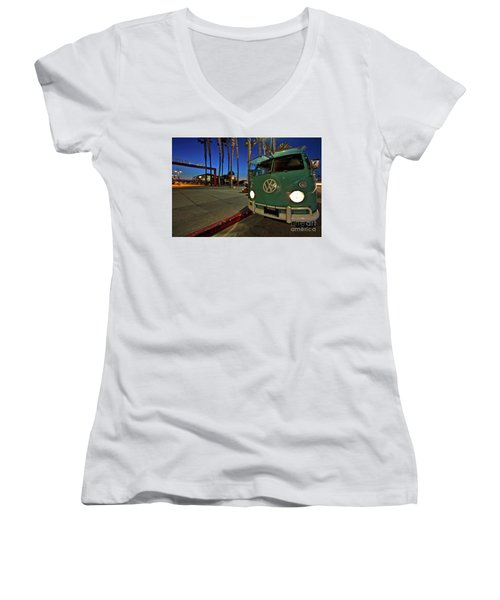 Volkswagen Bus At The Imperial Beach Pier Women's V-Neck T-Shirt (Junior Cut) by Sam Antonio Photography