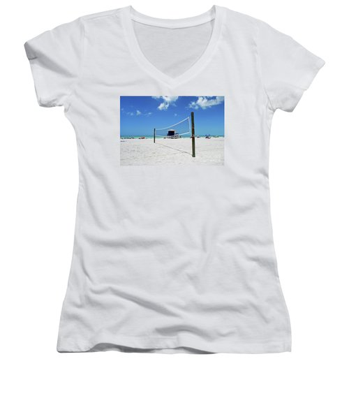 Women's V-Neck T-Shirt featuring the photograph Volley Ball On The Beach by Gary Wonning