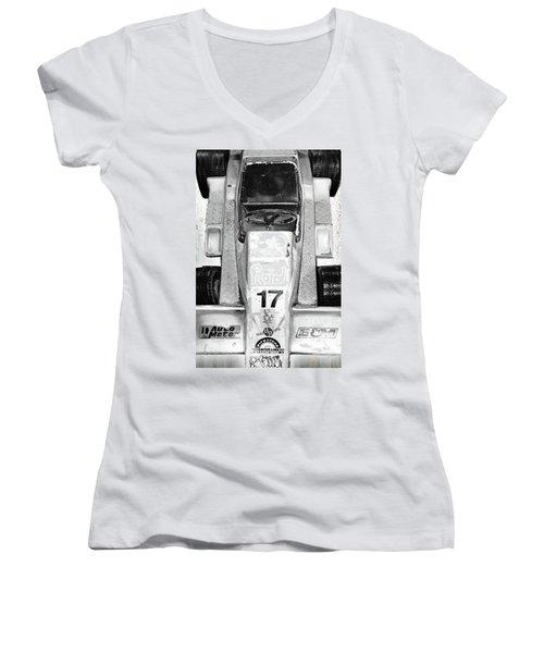 Women's V-Neck T-Shirt (Junior Cut) featuring the mixed media Vroom by Tony Rubino