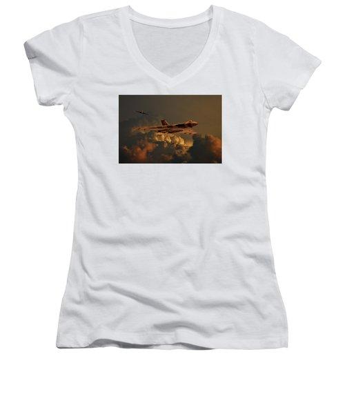 Vulcan Bombers Into The Storm Women's V-Neck T-Shirt (Junior Cut) by Ken Brannen