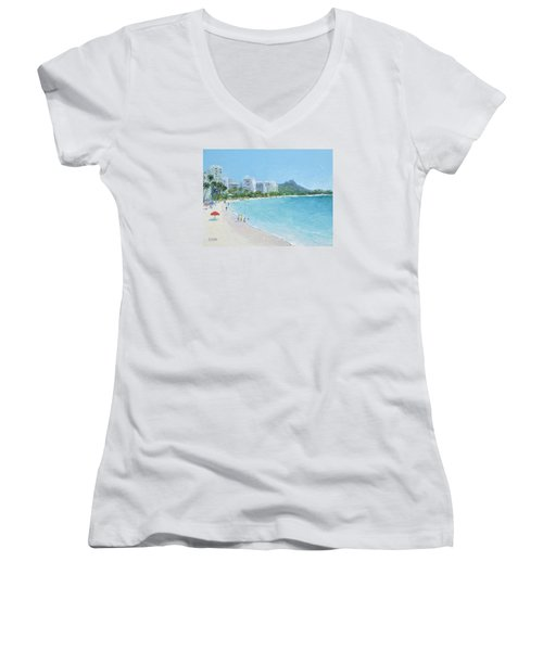 Waikiki Beach Honolulu Hawaii Women's V-Neck T-Shirt