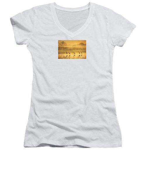 Waiting Women's V-Neck T-Shirt (Junior Cut) by Alice Cahill