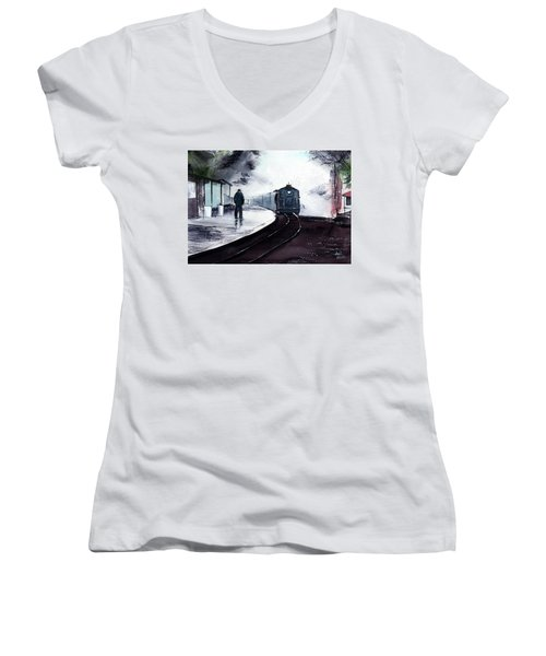 Women's V-Neck T-Shirt (Junior Cut) featuring the painting Waiting by Anil Nene